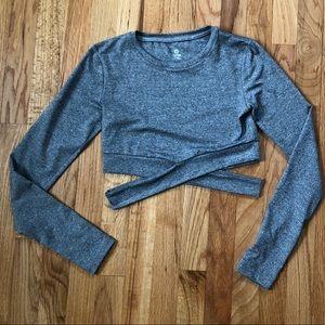 Gray crop criss cross activewear top